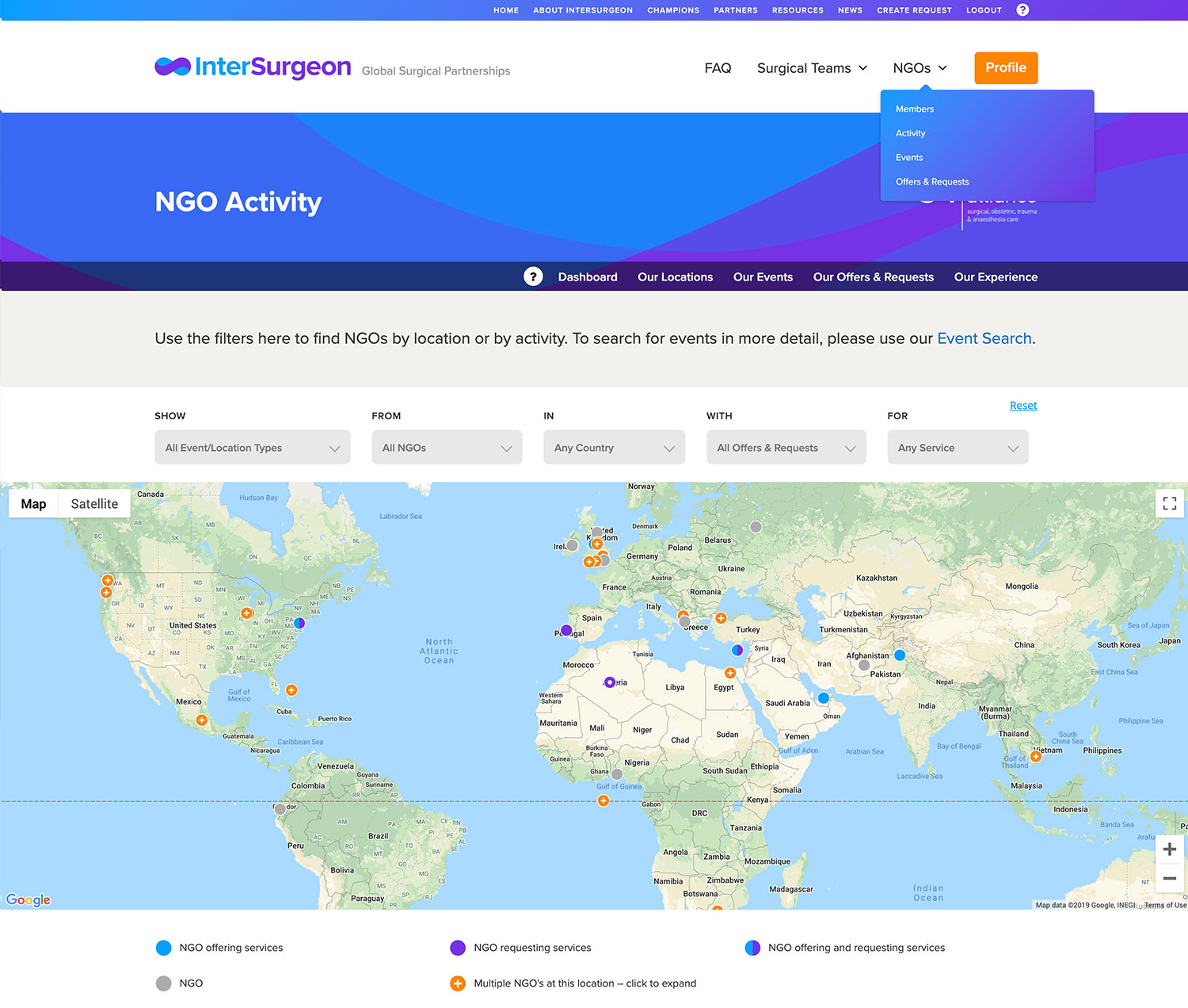 A Screenshot of the NGO Platform which is in final development